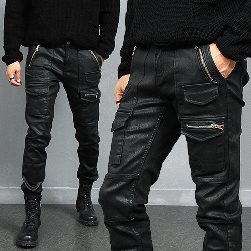 Wax Coated Multi Zipper Cargo Pocket Biker Slim Jeans 240
