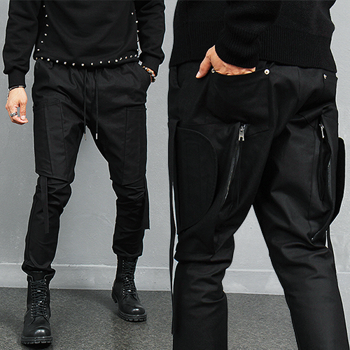 Avant garde Side Zipper Big Pocket Cover Jogger Pants