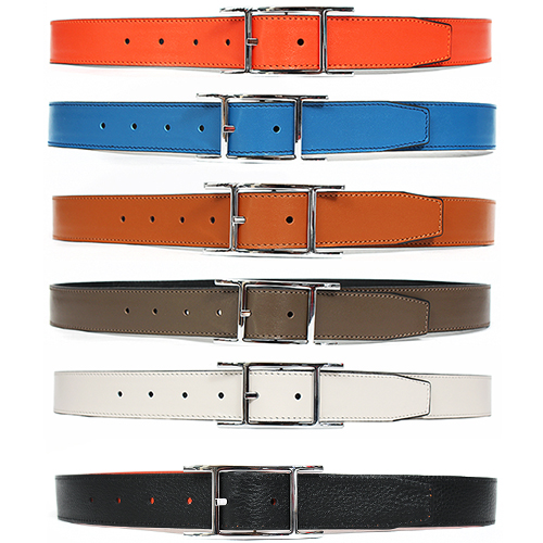 Reversible Buckle 2 Color Leather Belt