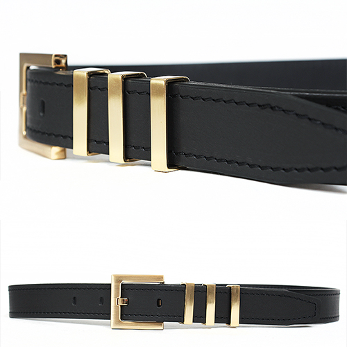 Triple Gold-Plating Buckle Black Leather Belt