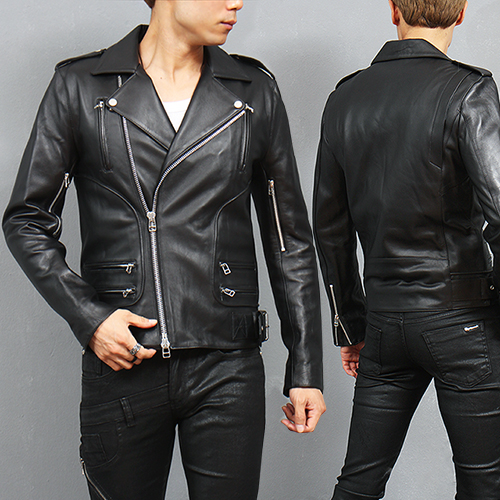 Designer Zipper Riders Genuine Lambskin Leather Jacket