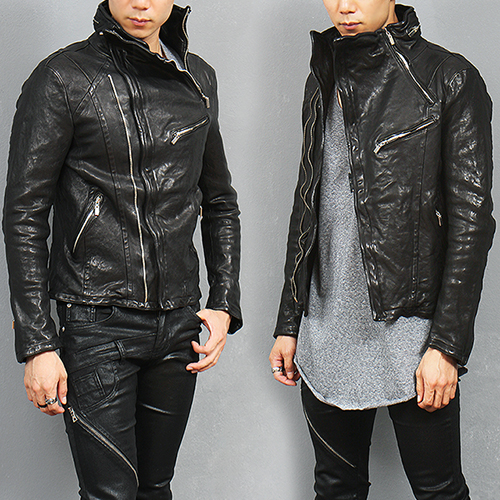 High Neck Diagonal Zipper Genuine Lambskin Leather Jacket
