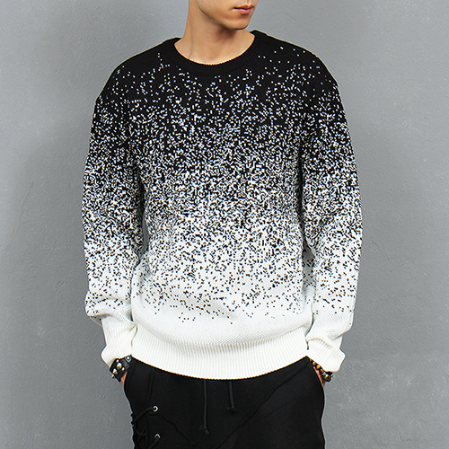 Black White Snow Pattern Knit Jumper