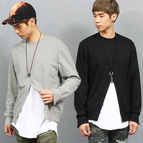 Street Fashion Split Front Zipper Cuff Sweatshirt