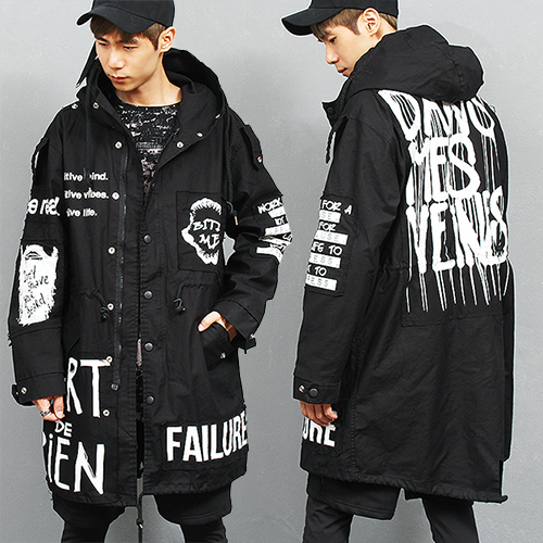 Loose Fit Statement Logo Printing Long Hood Jacket