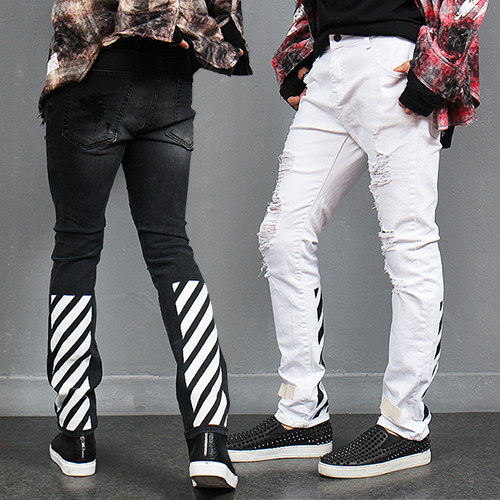 Vintage Ripped Striped Printing Slim Jeans