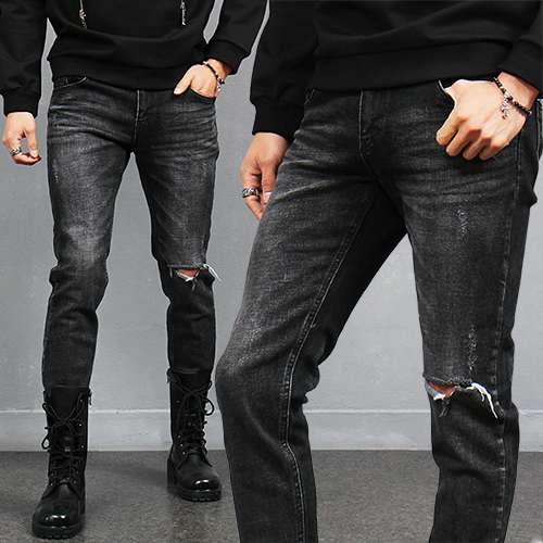 Vintage Style Knee Ripped Raw Hem Faded Black Jeans 269