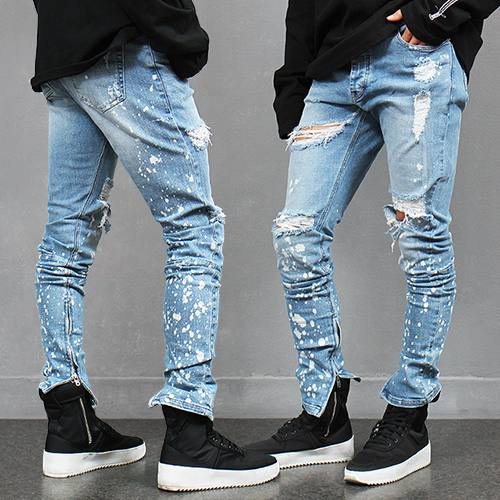 Splattered Painting Zippered Hem Ripped Slim Blue Jeans