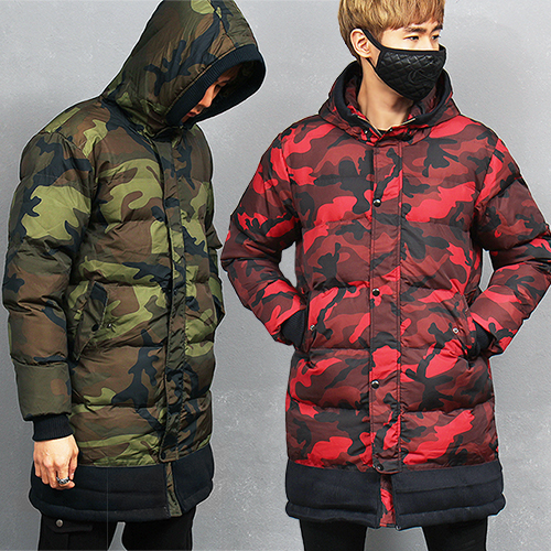Camouflage Puffa Hood Long Zip Up Parka