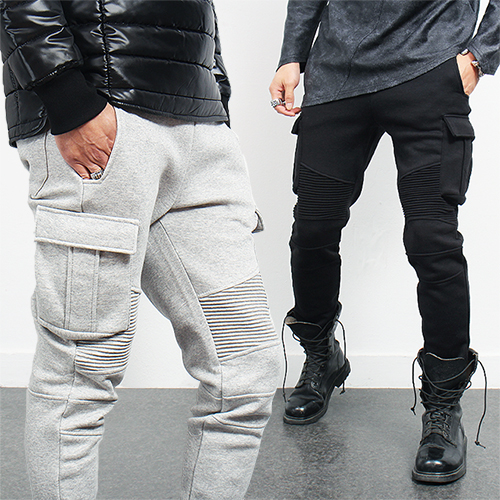 Slim Fit Bikers Ribbed Seaming Pocket Cargo Sweatpants