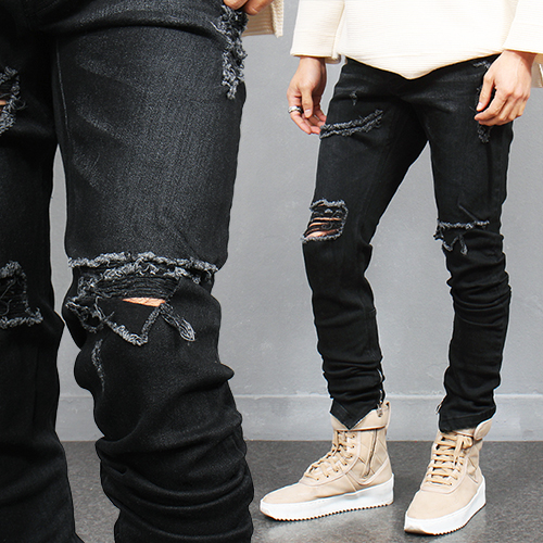 Ripped Destroyed Zipper Hem Slim Skinny Black Jeans