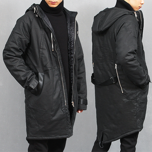 Back Zipper Pocket Puffa Hood Long Parka