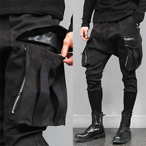 Big Cargo Pocket Long Ribbed Hem Slim Baggy Sweatpants