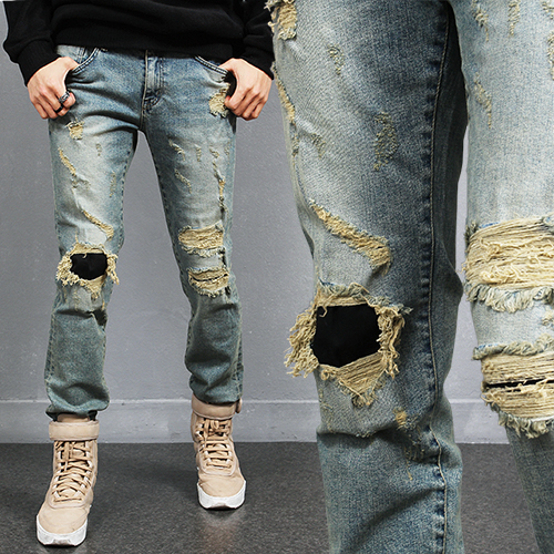 Vintage Style Ripped Distressed Faded Blue Jeans 2089