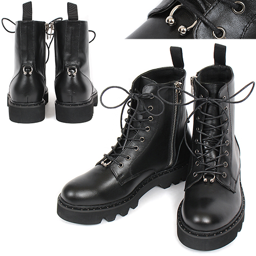 Piercing Zipper High Top Leather Boots 027