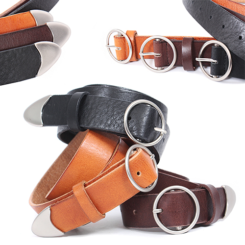 Circle Ring Buckle Leather Belt