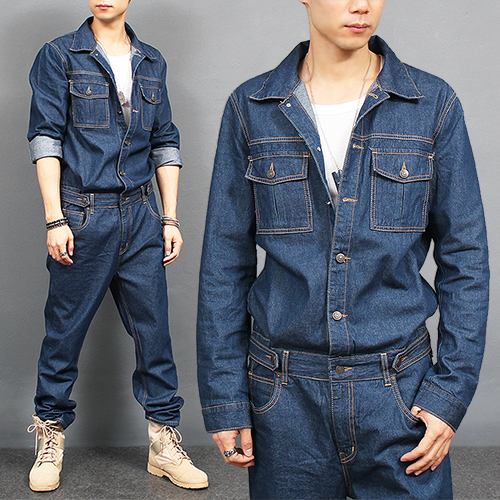Overall One Piece Blue Denim Jumpsuit 8812