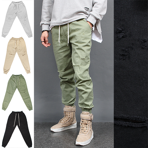 Vintage Distressed Cut Denim Jogger Pants