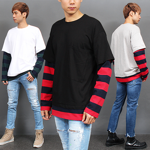 Layered Styling Striped Sleeve Pocket Tee 674