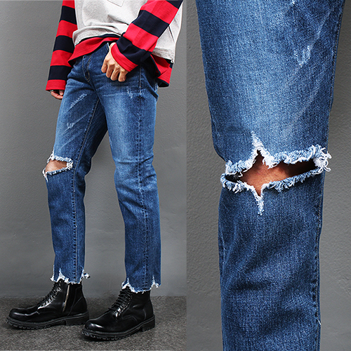 Knee Ripped Hem Cut Off Faded Blue Jeans P215