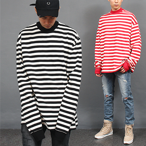 Over Long Sleeve Striped Half Neck T Shirt
