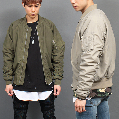 Wax Coated Zip Up Bomber Blouson Jacket