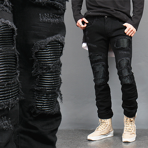 Ribbed Leather Seaming Destroyed Black Jeans