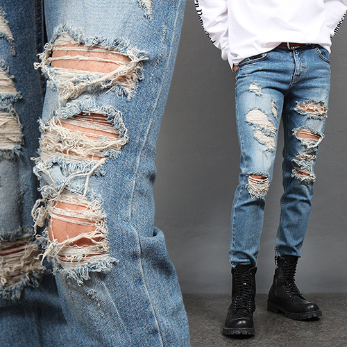 Heavy Ripped Destroyed Slim Blue Jeans 1013