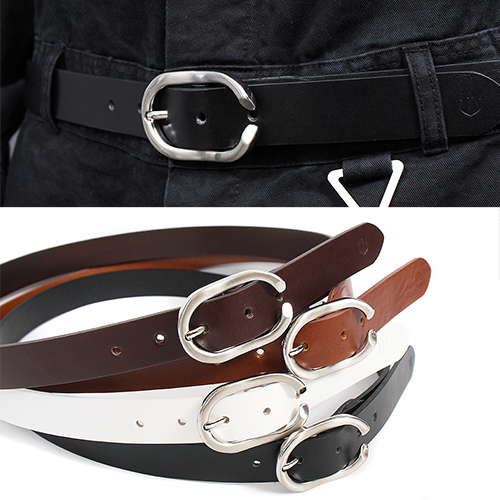 Ellipse Ring Buckle Leather Belt