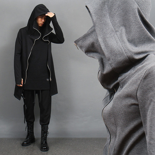 Double Long Zipper Handwarmer Turtle Neck Hoodie