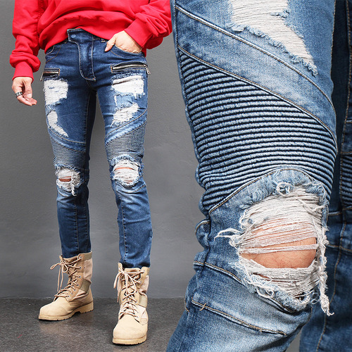 Distressed Destroyed Seaming Zipper Slim Biker Jeans 5011