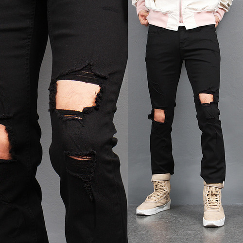 Ripped Knee Open Cut Off Slim Black Jeans 370