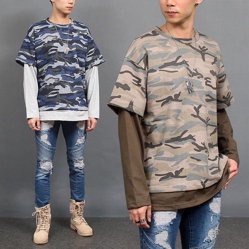 Loose Fit Layered Styling Camouflage T Shirt 681