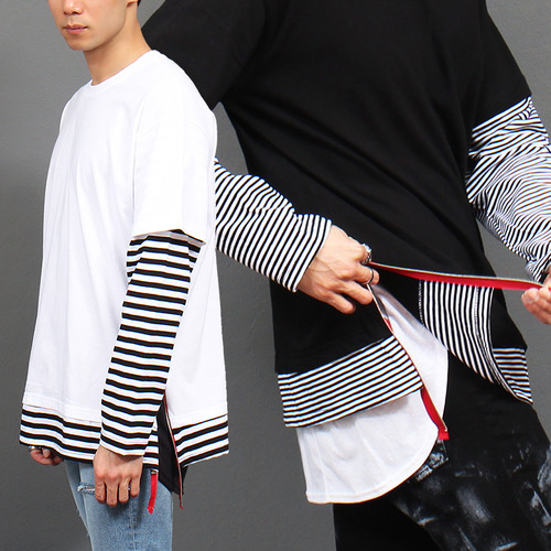 Striped Tee Layered Styling Side Zipper T Shirt 682