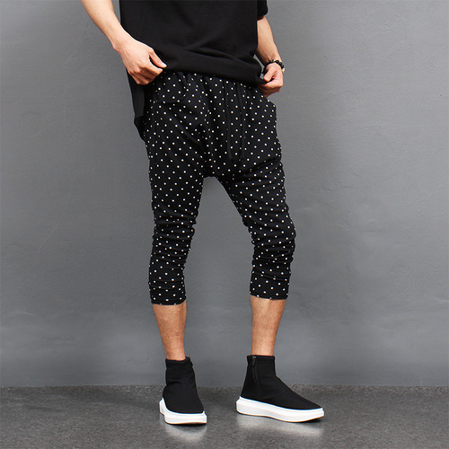 Drop Crotch Dot Pattern 3/4 Baggy Sweatpants