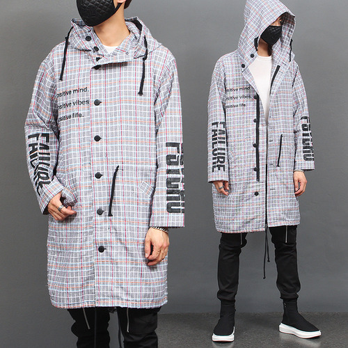 Logo Statement Printing Check Long Hood Jacket