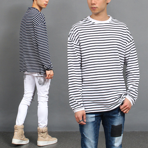Ribbed Neck Cuffs Striped Boxy Tee