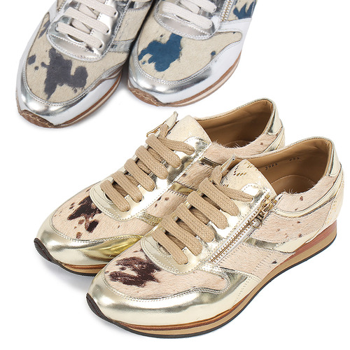Genuine Leather Leopard Unborn Calf Handmade Sneakers 3965