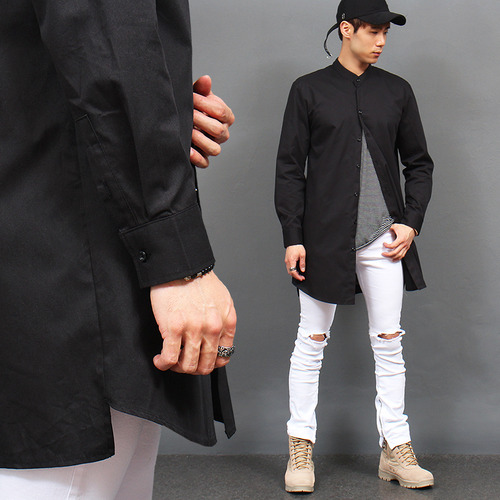 Unbalanced Hem China Neck Long Shirt