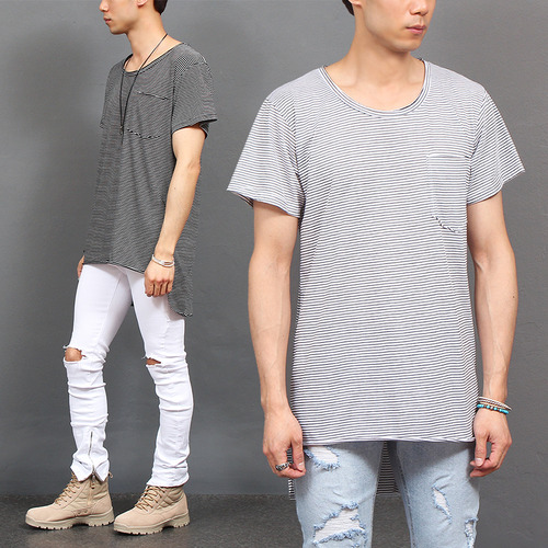 Loose Fit Long Back Hem Pocket Striped Tee