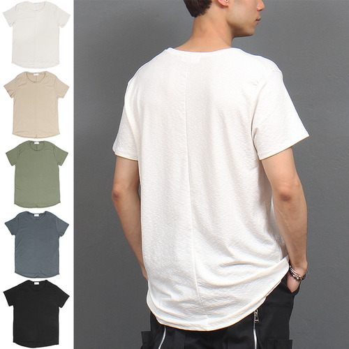 Loose Fit Slub Back Round Hem Short Sleeve Tee