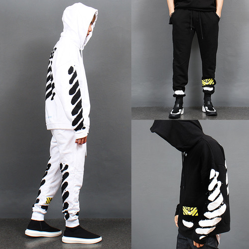Loose Fit Printing Hood Sweatshirt Sweatpants Set