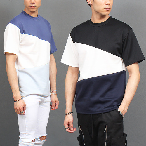 Contrast 3 Color Neoprene Short Sleeve Tee
