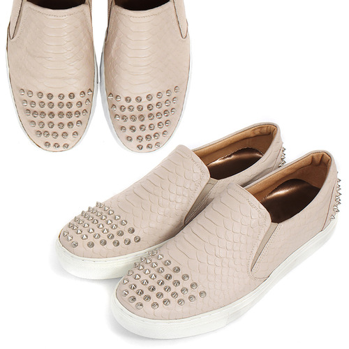 Studs Crocodile Pattern Beige Leather Handmade Sneakers 3807