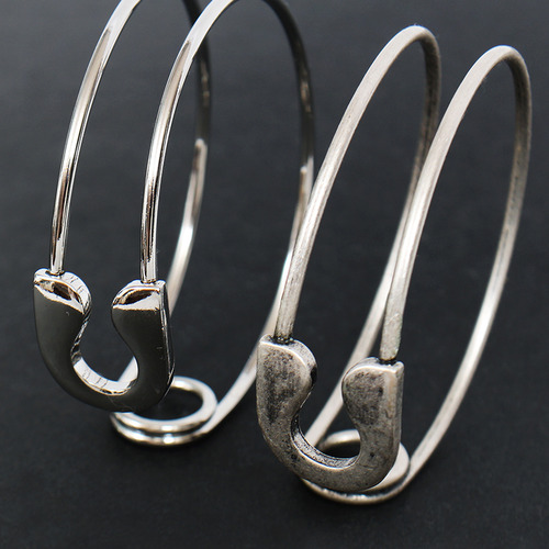 Safety Pin Shaped Cuff Steel Bracelet B206