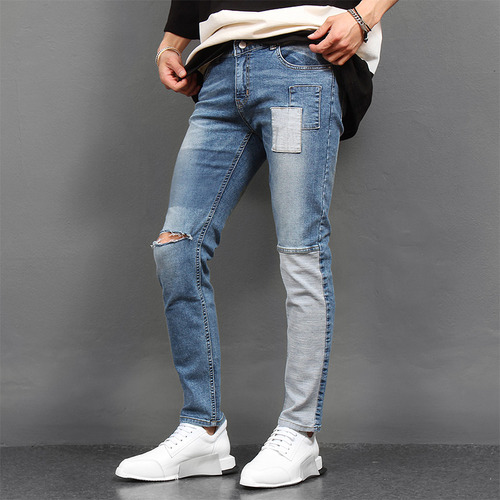 Unbalanced Leg Vintage Patch Cut Slim jeans 1024