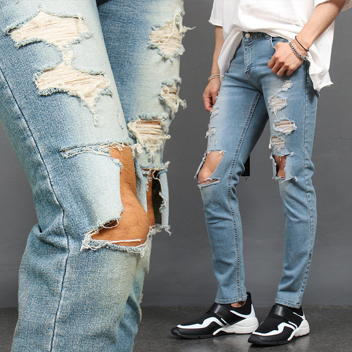 Knee Ripped Heavy Distressed Slim Jeans 1030