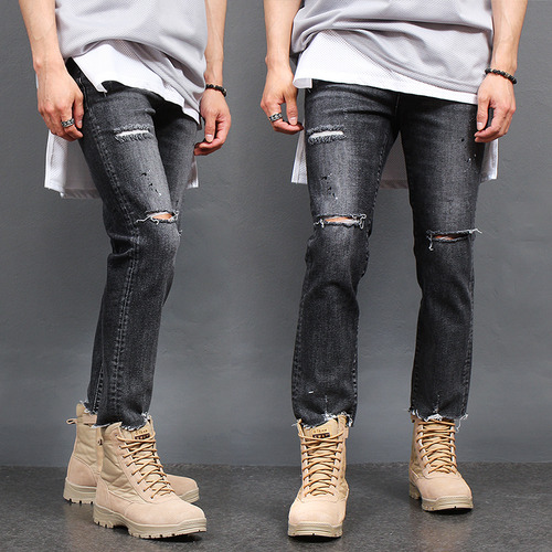 Distressed Ripped Cut Off Hem Straight Jeans 1724