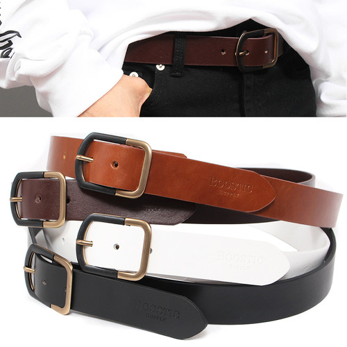 Contrast Black Gold Square Buckle Leather Belt