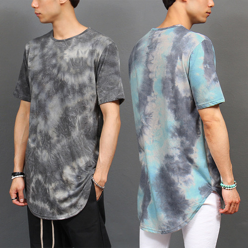 Natural Water Washed Color Shirttail Long Hem Tee